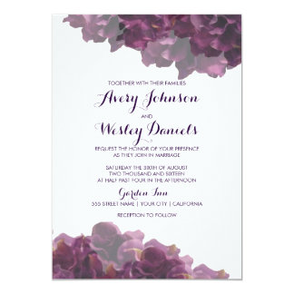 Purple Fl Wedding Invitation