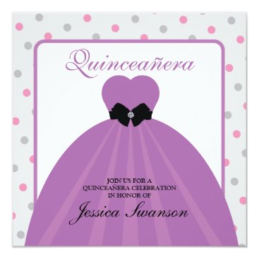 Purple Formal Gown Quinceañera with diamond bow Card