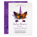 Purple Glitter Halloween Unicorn Girl Baby Shower Invitation