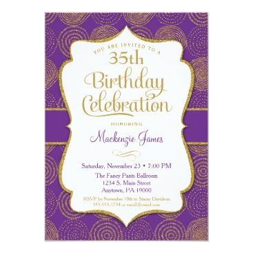 Purple Gold Birthday Invitation Adult Party