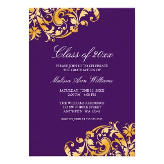 Purple Gold Swirl Graduation Party Announcement