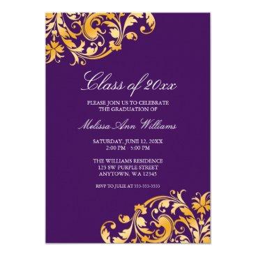 Purple Gold Swirl Graduation Party Announcement