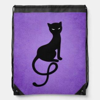 Plotting Black Cat Drawstring Backpack