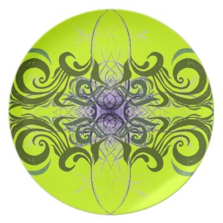 Purple, Green and Lime Abstract by Alexandra Cook fuji_plate