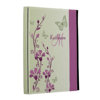 Purple, Green Butterfly Floral iPad (1,2,3) Folio iPad Case