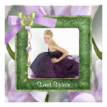 Purple Green Butterfly Photo Sweet 16 Party Invitation