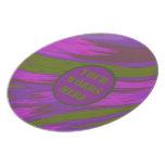 Purple Green Color Swish Monogram Dinner Plate
