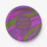 Purple Green Color Swish Monogram Paper Plate