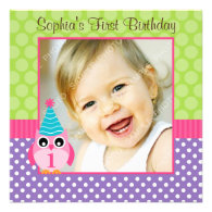 Purple Green Owl Polka Dot 1st Birthday Girl Photo Custom Announcement