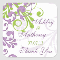 Purple Green White Floral Wedding Favor Tag Square Stickers