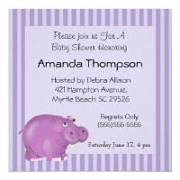 Purple Hippo Baby Shower Invitations