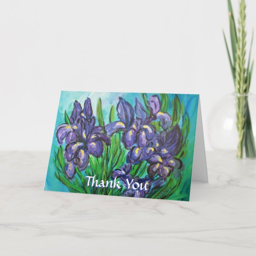 Purple Iris Flowers Thank You Custom Greeting Card