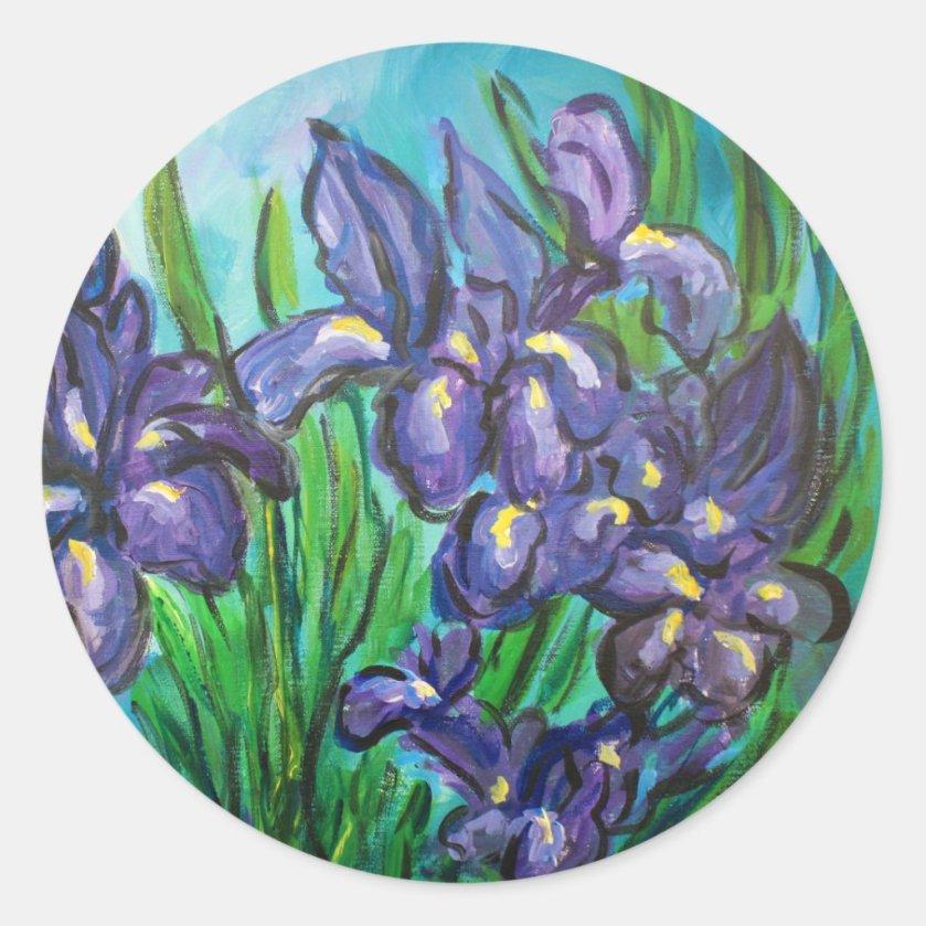 Purple Irises Flower Painting Custom Decal Sticker