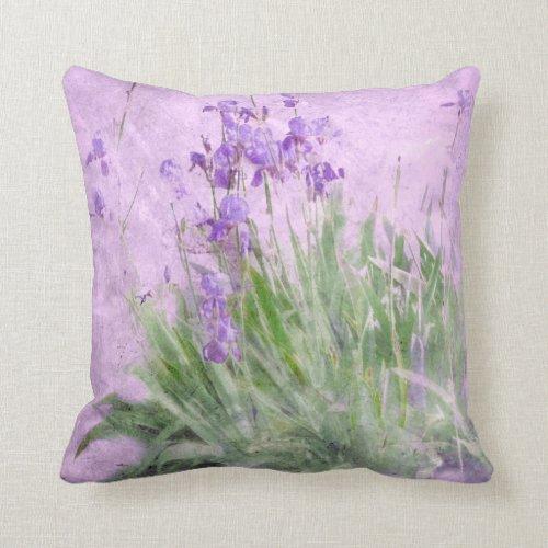 Purple Irises Watercolor - Throw Pillow