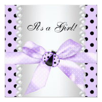 Purple Ladybug Baby Shower Card