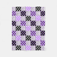 Purple Ladybug Polka Dots Baby Girl Quilt Blocks Fleece Blanket