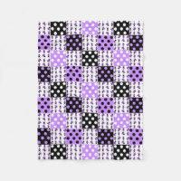 Purple Ladybug Polka Dots Baby Girl Quilt Blocks Fleece Blanket