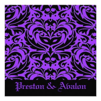 Purple Masquerade Damask Halloween Wedding Invitation