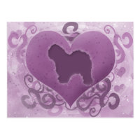 Purple Old English Sheepdog Valentine Postcard