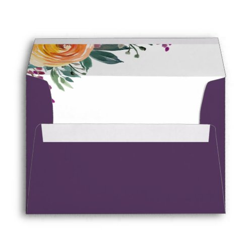 Purple Orange Watercolor Floral Return Address 5x7 Envelope