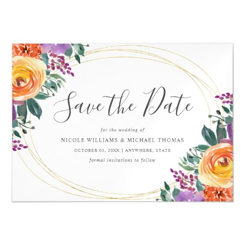 Purple Orange Watercolor Floral Save the Date Magnetic Invitation