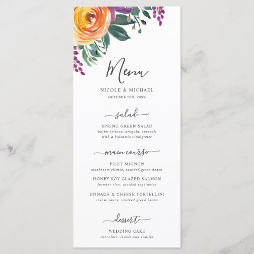 Purple Orange Watercolor Floral Wedding Menu