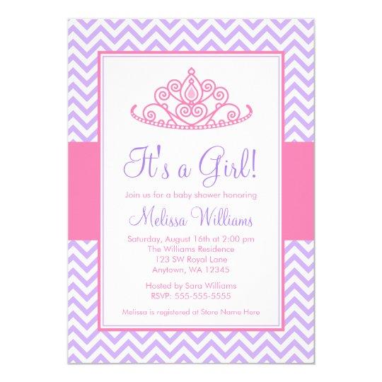 Purple Pink Chevron Princess Crown Baby Shower Invitation