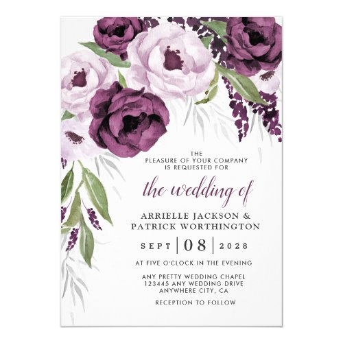 Purple Plum and Gray Silver Elegant Floral Wedding Invitation