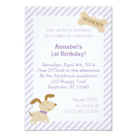 Purple Puppy Dog Invitation with Stripes and Dots