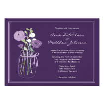 Purple Rustic Mason Jar Wedding Invitations