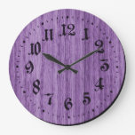 Purple Rustic Wooden Clock