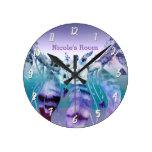Purple & Teal Dream Catcher Boho Personalized Round Clock
