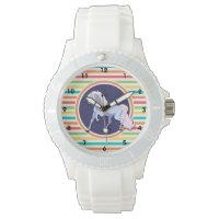 Purple Unicorn on Bright Rainbow Stripes Wrist Watch