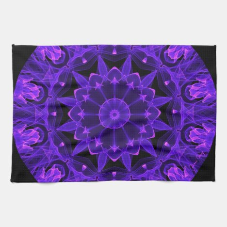 Purple Wheel of Fire Mandala, Abstract Lace Flame Hand Towel