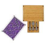 Purple White Pattern Design Rectangular Cheese Board
