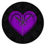 Purple Wooden Rustic Grunge Heart Clock
