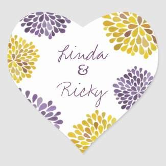 Purple & Yellow Dahlia Flowers Wedding Sticker