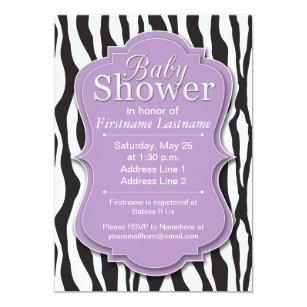 Purple Zebra Print Baby Shower Invitations