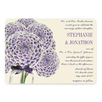 Purple Zinnia Mason Jar Wild Flower Wedding Personalized Announcements