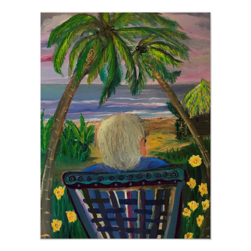 Quarantined in Key West Amid Palm Trees and Ocean Poster