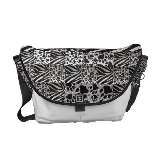 Quilted Metal Texture zebra/cat paws Messenger Bags