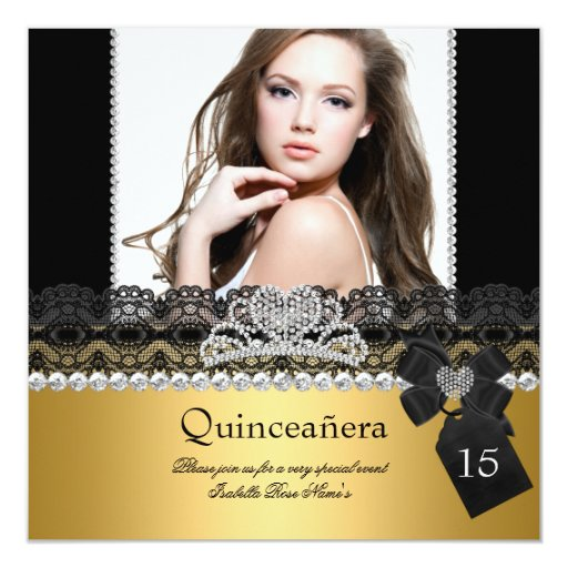 Quinceanera 15th Gold Silver Photo Black Lace Card
