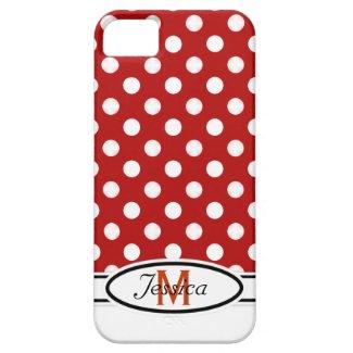 R & W Polka-dot Monogram iPhone 4 Case