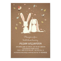 rabbit bunnies couple woodland bridal shower card