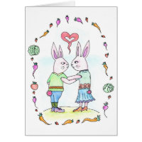 Rabbit Love - Greeting card / invitation