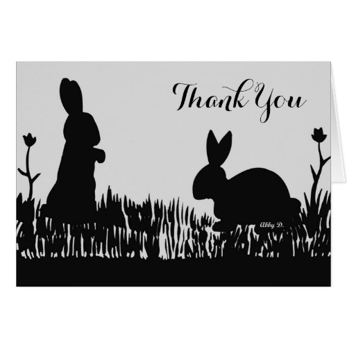 Rabbits in the Meadow Silhouette Thank You Card