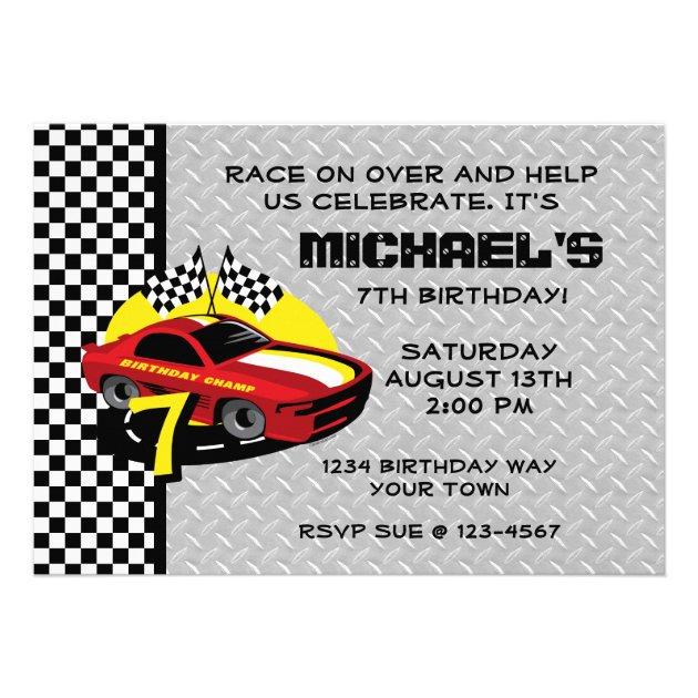 race car 7th birthday party invitation