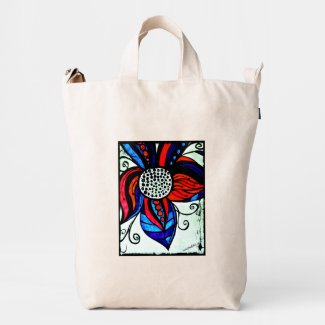 Rachel Doodle Art - Colorful Flower Duck Canvas Bag