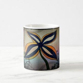 Rachel Doodle Art - Funky Flower Classic White Coffee Mug