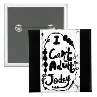 Rachel Doodle Art - I Can't Adult Today 2 Inch Square Button
